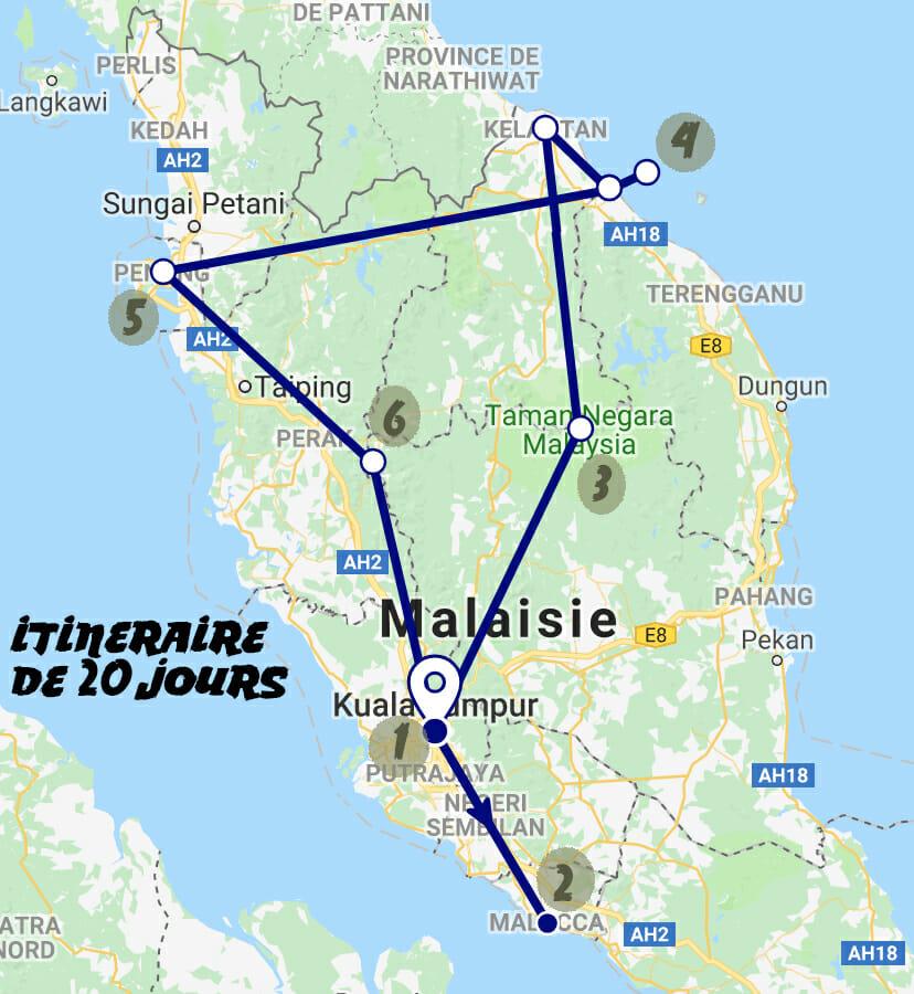 Itineraire voyage malaise