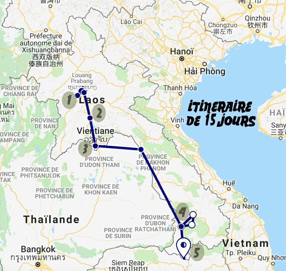 itineraire laos carte