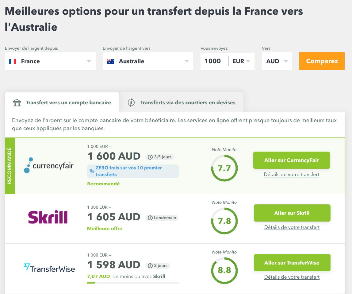 partir 1 an en australie transfert argent