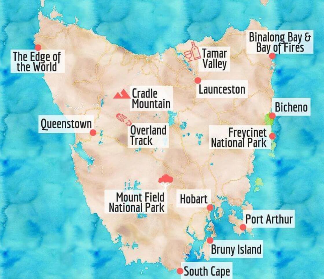 Tasmanie carte road trip